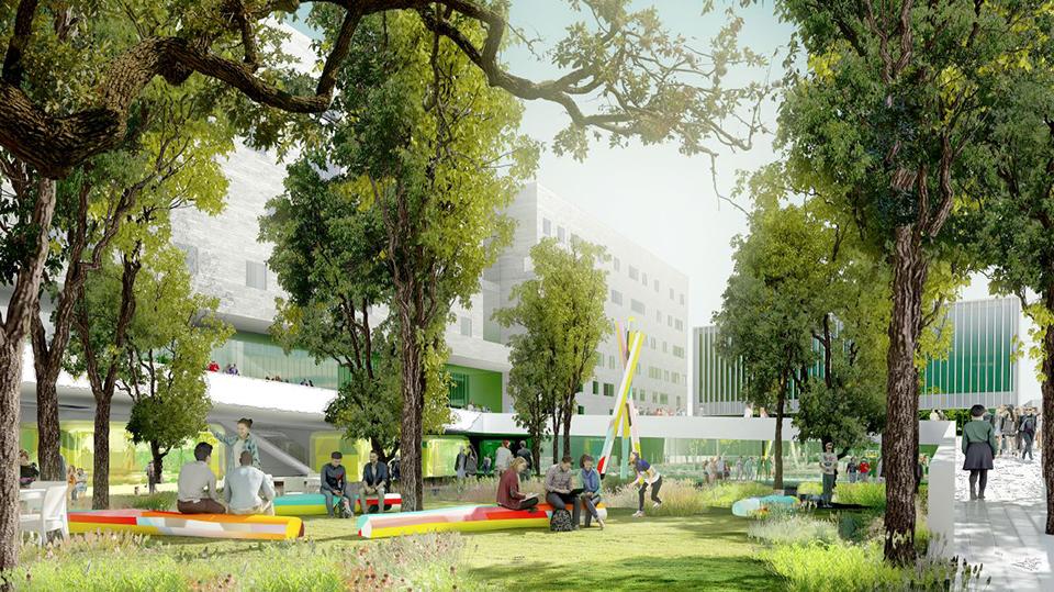 Image de synthèse du jardin du Campus Condorcet, porte de la Chapelle,  Françoise Mauffret et Jean Guervilly