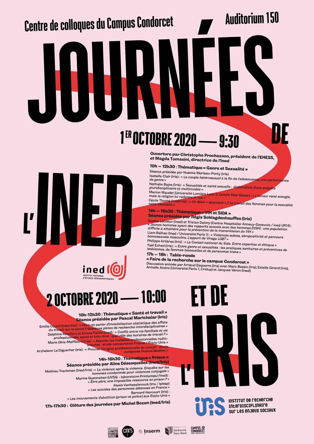 Affiche Journées de l'Ined et de l'Iris 2020