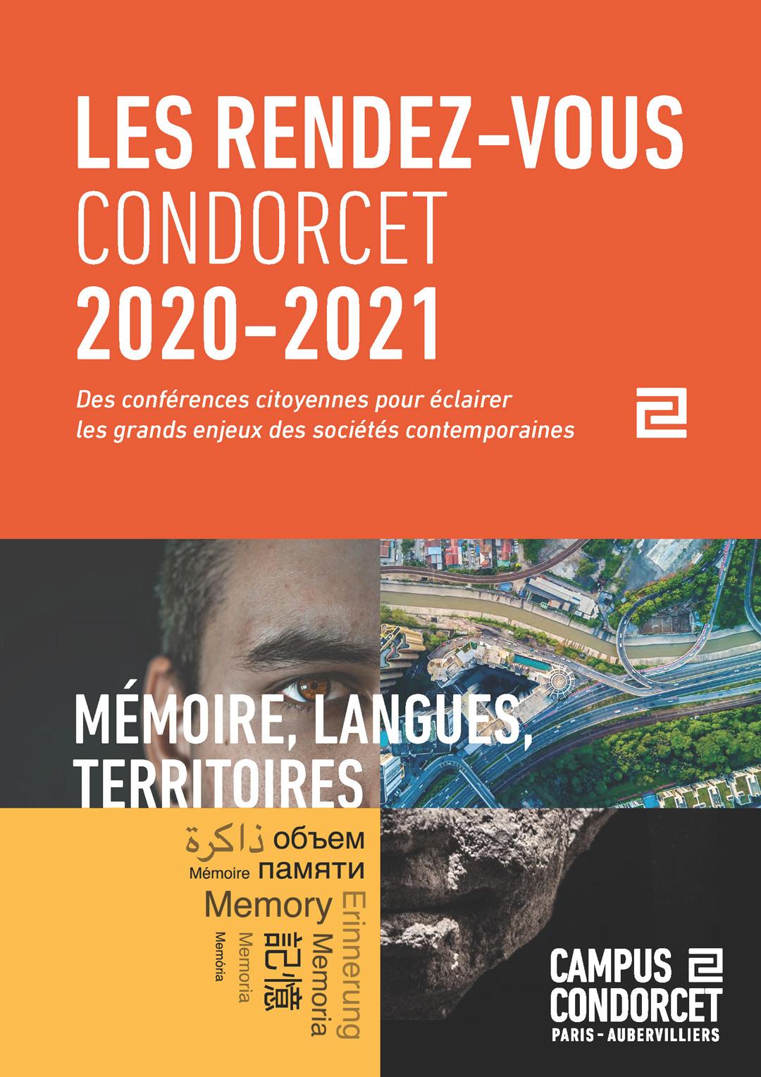 Affiche des Rendez-Vous Condorcet 2020-2021 Mémoire, langues, territoires