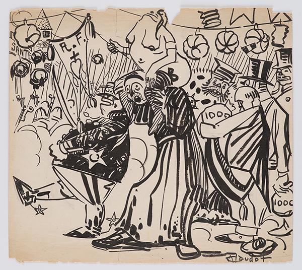 André Claudot, dessin (14 juillet anarchiste) pour Le Libertaire du 12 juillet 1920