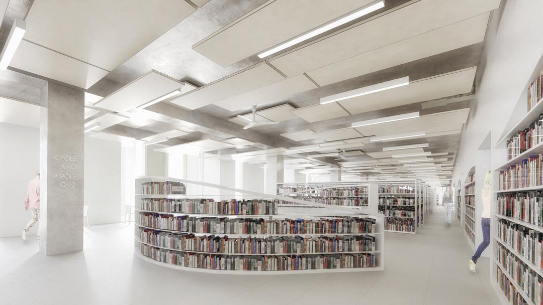 Image de synthèse des espaces de consultation du Grand équipement documentaire