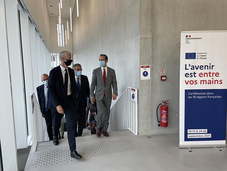 Conférence sur l'Avenir de l'Europe - Arrivée de Franck Riester, Ministre délégué auprès du ministre de l'Europe et des Affaires étrangères, chargé du Commerce extérieur et de l'Attractivité